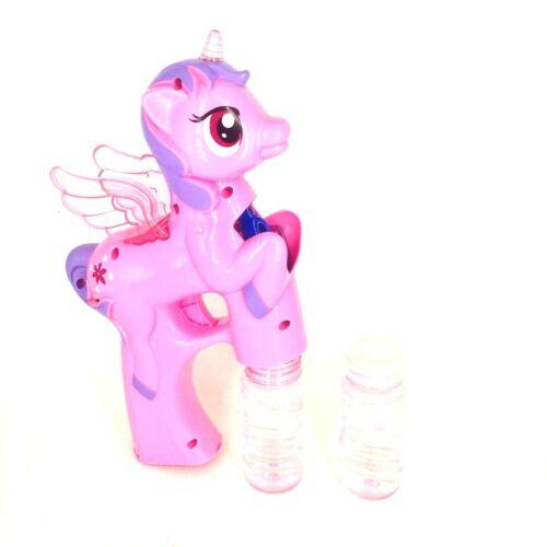 Pony Seifenblasenpistole Bubble Gun LED Lichter und Sound Rosa//Blau 23cm