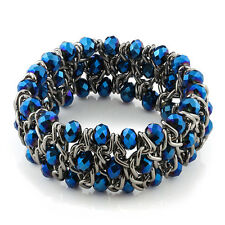8 Inch Stunning Blue Crystal Beads Mesh Stretchy Bangle Bracelet