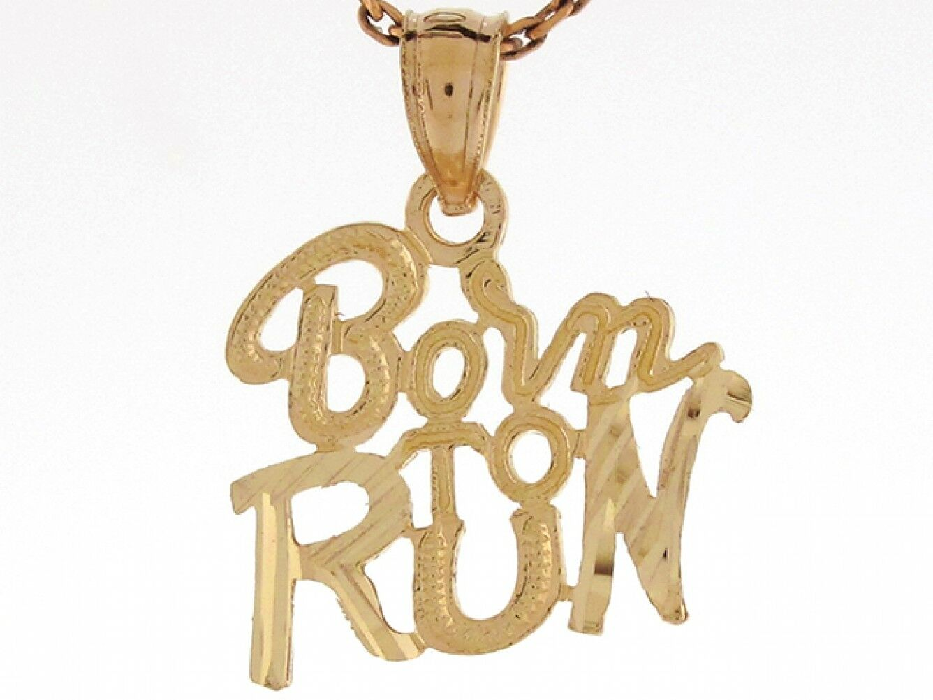 10k or 14k Real Yellow gold 1.8cm X 1.4cm Born To Run Runners Joggers Pendant