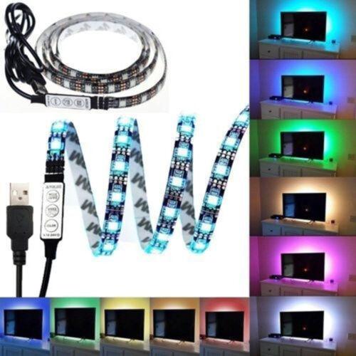 5050 Waterproof 3keys USB LED STRIP LIGHTS TV BACK LIGHT RGB COLOUR CHANGING~