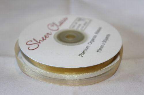10mm Premium Organza Ribbon Woven Edge Full Roll 50 Yards Choose Colour