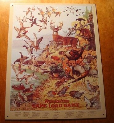 In Staat Remington Game Load Bird Deer Duck Animal Identification Chart Hunter Sign Decor