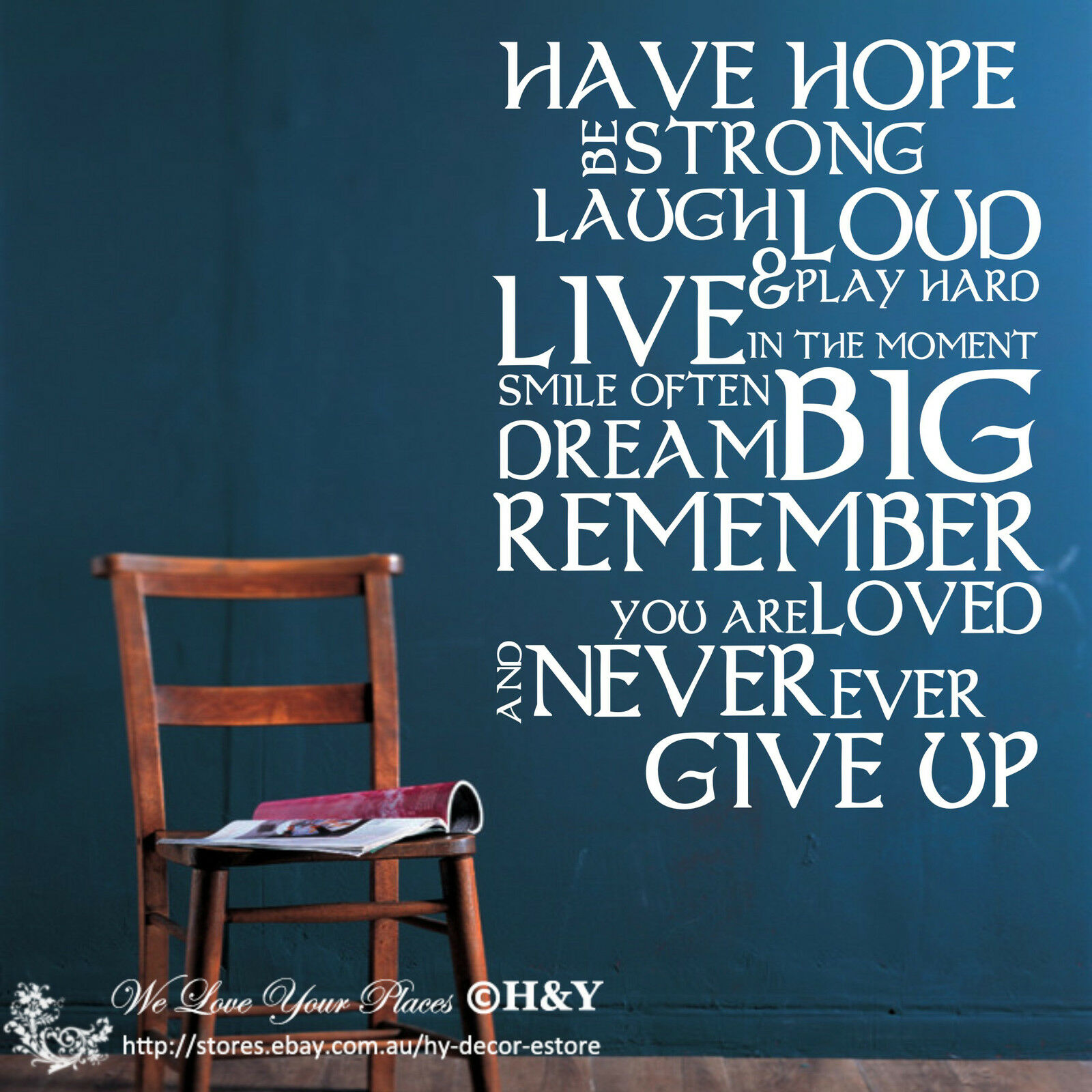 """Inspirational """"Have Hope Be Strong"""" DIY Wall Stickers"""