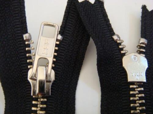 1 Piece of black with silver  metal teeth YKK zipper 13/'/'L Closed end