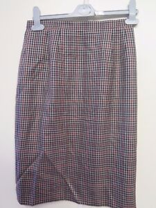 5e3f671ef8 Image is loading Genuine-Burberry-Brown-Tweed-Houndstooth-Pattern-Skirt-Size -