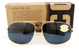 2b2b5fef93 New Costa Del Mar Fishing Sunglasses SHIPMASTER Gold Titanium Gray ...