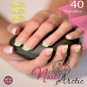 40 X Nail Art Water Transfers Stickers Wraps Decals English England