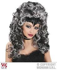NERO & Grigio Donna Vampiro Parrucca Goth Gotica Halloween FANCY DRESS