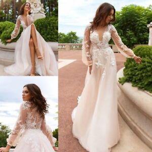 Image Is Loading Vintage Boho Wedding Dresses Bridal Gown Custom Long