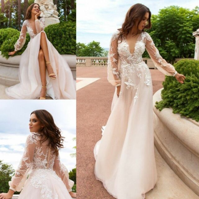 Vintage Boho Wedding Dresses Bridal Gown Custom Long Sleeve Deep V ...