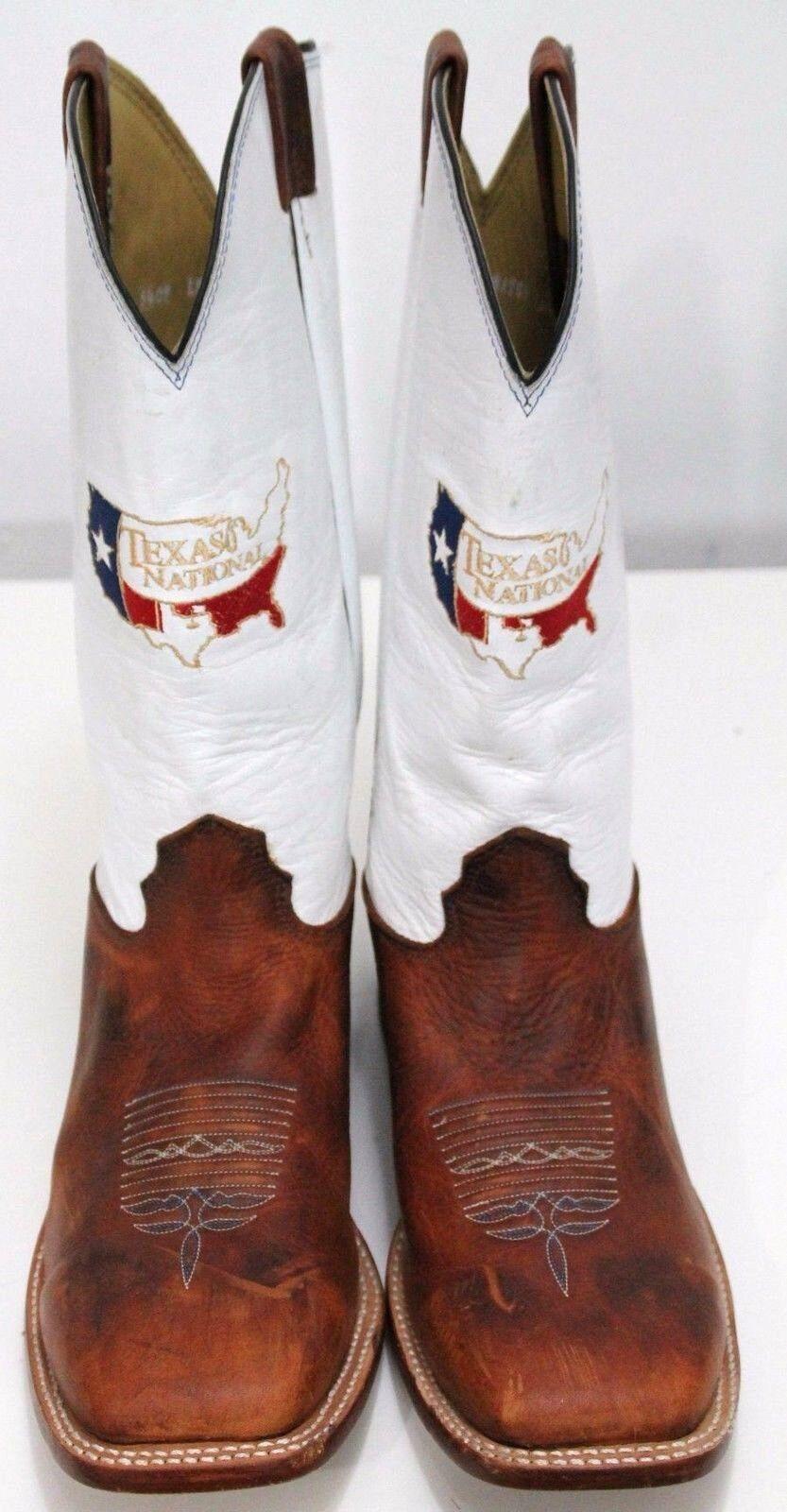 Larry Mahan Texas Nacional Para Hombre botas De Vaquero xe amplia Bordado Marrón