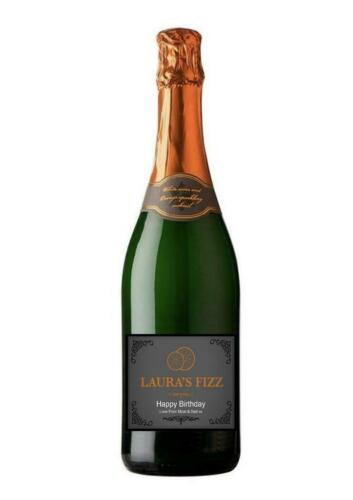 PERSONALISED SPARKLING WINE ORANGE FIZZ BOTTLE LABEL BIRTHDAY ANY OCCASION GIFT