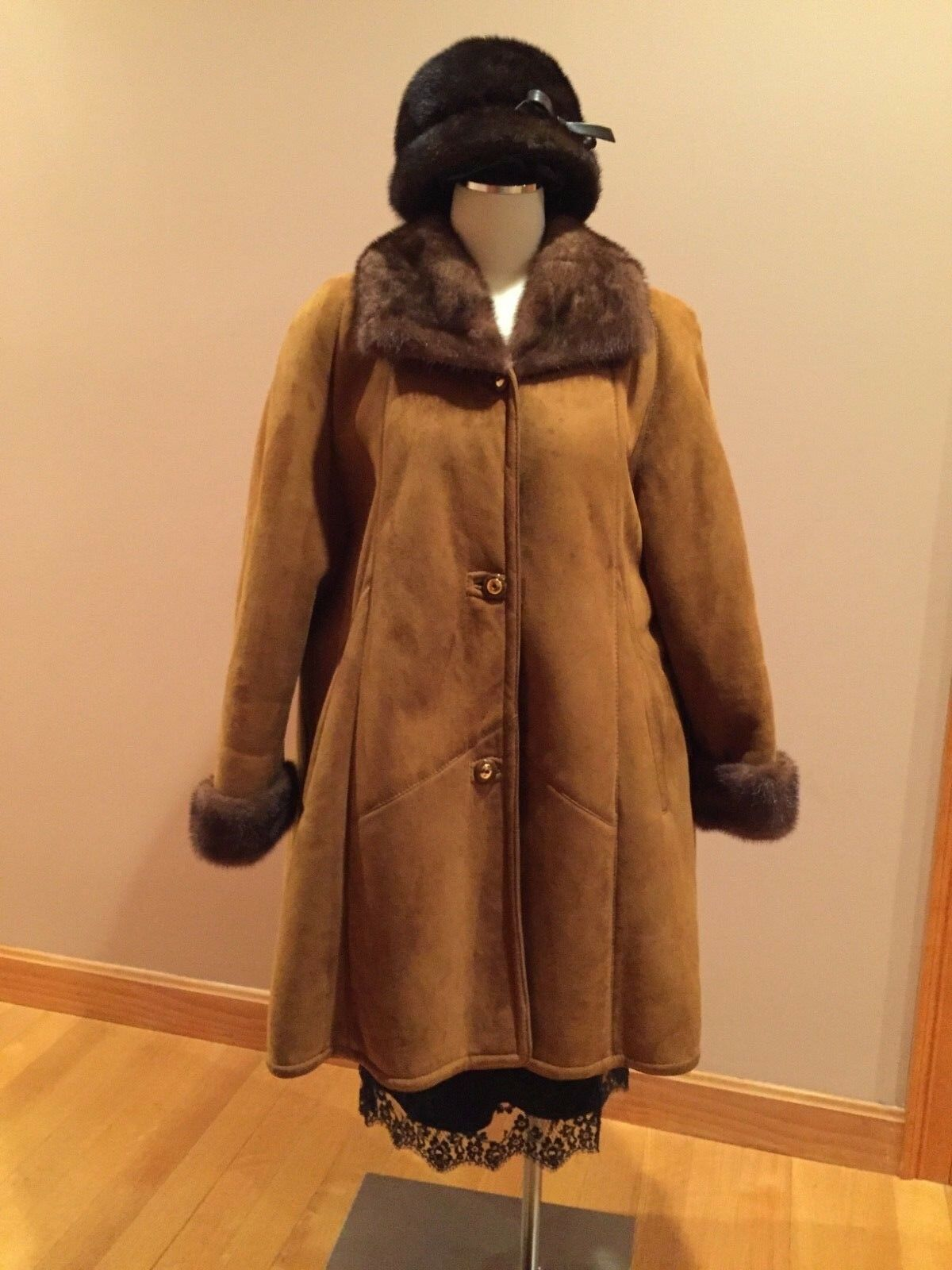 Sheepskin Shearling Fur Coat Made  Women Sz L-XXL  BONUS  MINK FUR HAT