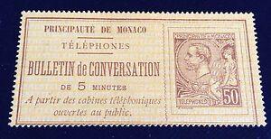 Monaco-Telephone-N-1-50-C-Brun-Sur-Jaune-Neuf-Petit-Aminci-Beau-Cote-575