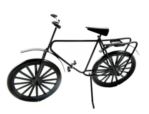 Dolls House Adults Black Bike Bicycle with Luggage Rack Miniature Accessory