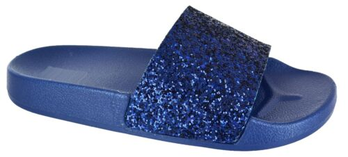 LADIES COMFY SLIPPERS GLITTER SLIDERS WOMENS SUMMER SLIP ON FLAT MULE SHOES SIZE