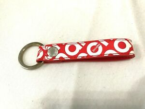 Marc-Jacobs-Key-Chain-Loop-Keychain-Red-White-Retro-1980-039-S-Script-Font-Logo