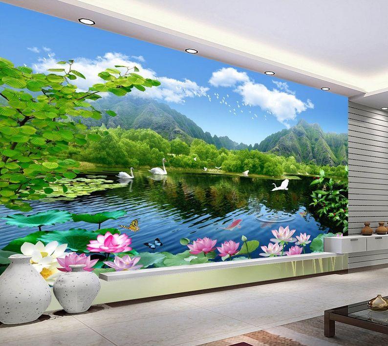 3D green lago Parete Murale Foto Carta da parati immagine sfondo muro stampa