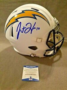 Justin-Herbert-Autographed-Full-Size-FW-Speed-Rep-Helmet-Los-Angeles-Chargers-Be