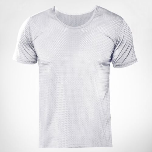 Mens Stretch Cotton Blend See Through T-shirt Mesh Breathable Short Sleeve Tee