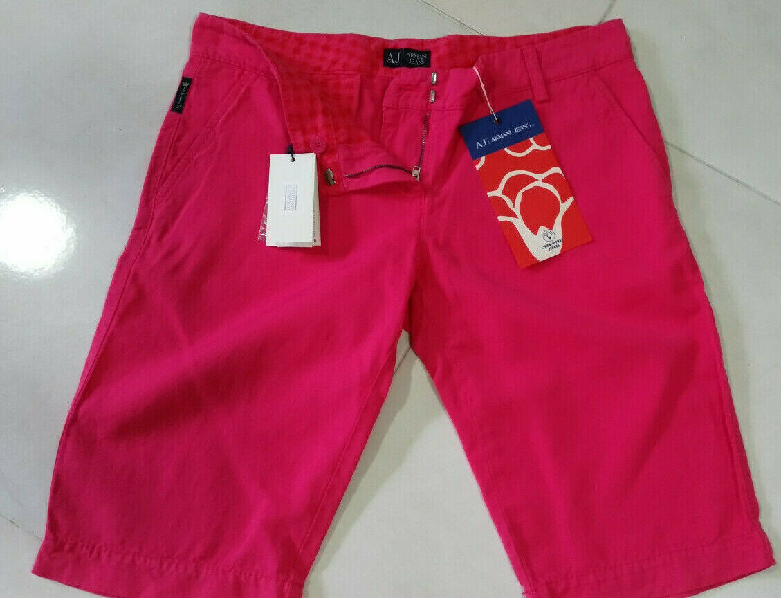 NEW  ARMANI JEANS WOMENS  SHORTS BERMUDA LINEN SIZE 30  ITALY   BERRY