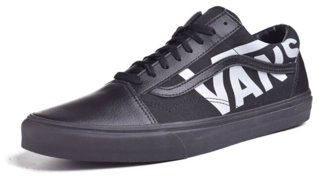 a4c5f857aa74 VANS Mens Old Skool Large Logo Black White Leather Canvas Skate ...