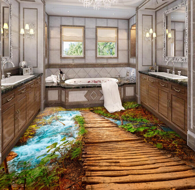3D Forest Tree Stairway Floor WallPaper Murals Wall Print Decal 5D AJ WALLPAPER