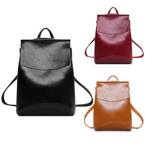 Image is loading Women-Girls-Ladies-Leather-Backpack-Rucksack-School-College - aa83a39ca6f95