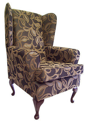 WING BACK / QUEEN ANNE CHAIR PATIO LEAF MOCHA CHENILLE FABRIC