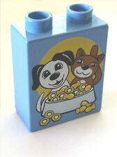 *NEW* Lego DUPLO MEDIUM BLUE Brick 1x2x2 DOG & CAT with FOOD BOWL Pattern