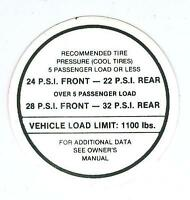 1966 Gto/lemans/full Size Tire Pressure Decal