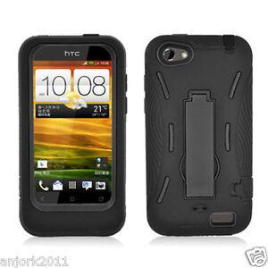 HTC-ONE-V-HYBRID-HARD-CASE-SKIN-COVER-w-STAND-ACCESSORY-BLACK