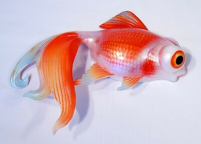 "Hand Painted 12"" Gold Fish Goldfish Wall Mount Decor Sculpture 08G-red"