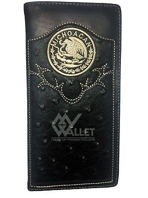 Men Wallet Western Bifold Check Book Style W011-32 Texas State Ostrich Brown
