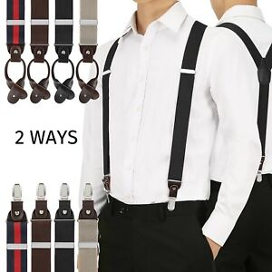 89b9251f52f Image is loading Convertible-Suspenders-for-Men-Button-End-Clip-On-