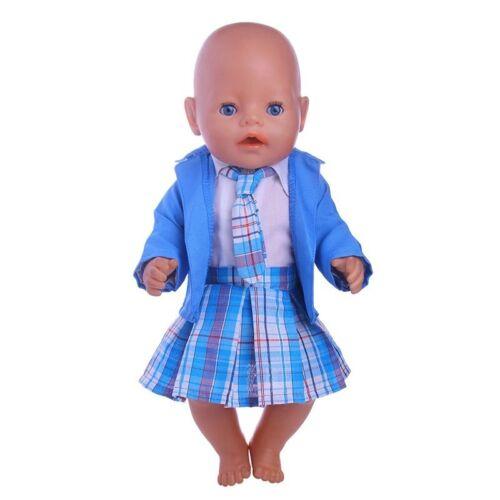 NEU zb Puppenkleidung 4-tlg. Baby Born/Sister blau kariert 43 cm Outfit