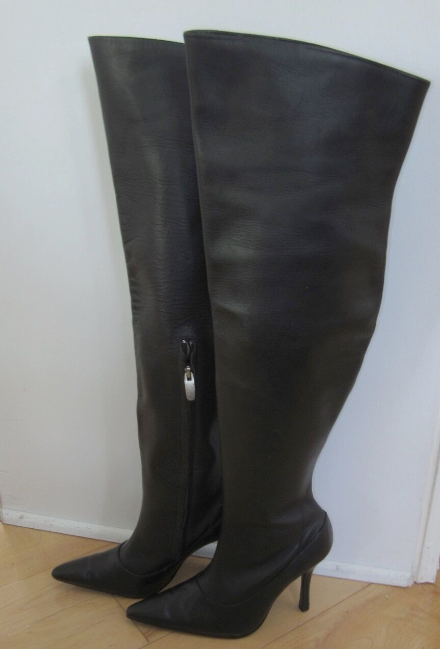 New Colin Stuart Sexy Black Leather Over the Knee Fashion Boots 5