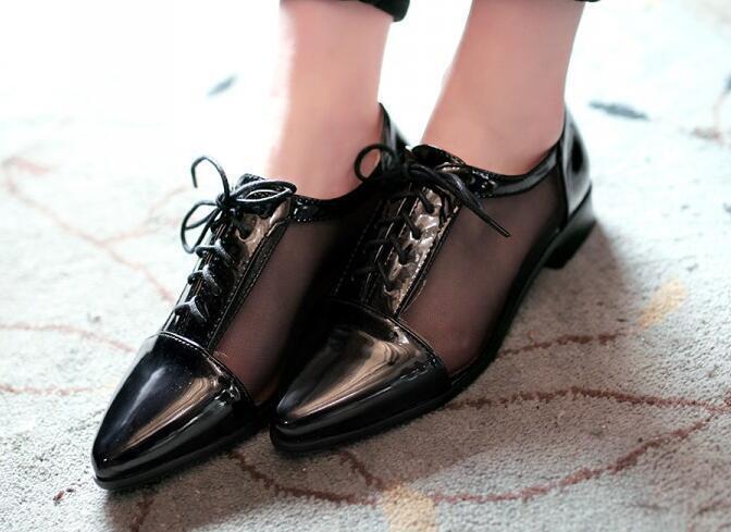 Ballerines mocassins chaussures pour femmes pan de la terre noir lacets talon 3