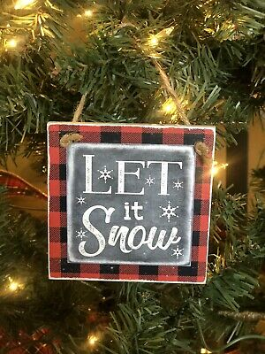 Wooden Rustic Let It Snow Red Plaid Christmas Tree Ornament Chalkboard Snowflake Ebay
