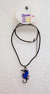 Black-Leather-Cord-Choker-Charm-Necklace-Sea-Horse-design-gift