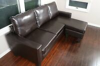 Sectional Sofa Living Room Furniture Brown Leather Modern Couch Loveseat Futon