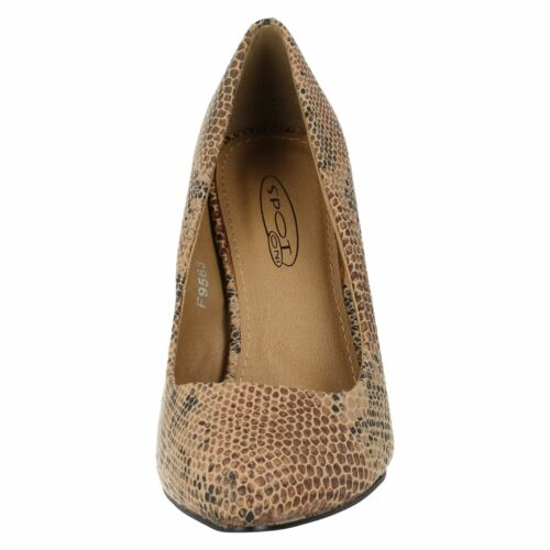 Spot On F9R563 Ladies Tan Snake Court Shoes R7A