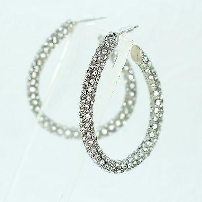 Alloy Blue Crystal Rhinestone Hoop Drop Dangle Earrings 07220 New