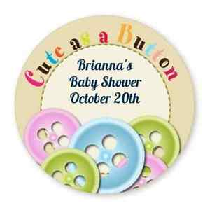 cute as a button round personalized baby shower sticker labels 6
