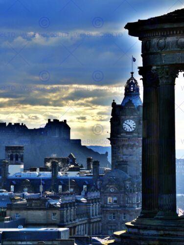 PHOTO CITYSCAPE EDINBURGH SCOTLAND CASTLE CLOCK DUGALD STEWART POSTER BMP11194