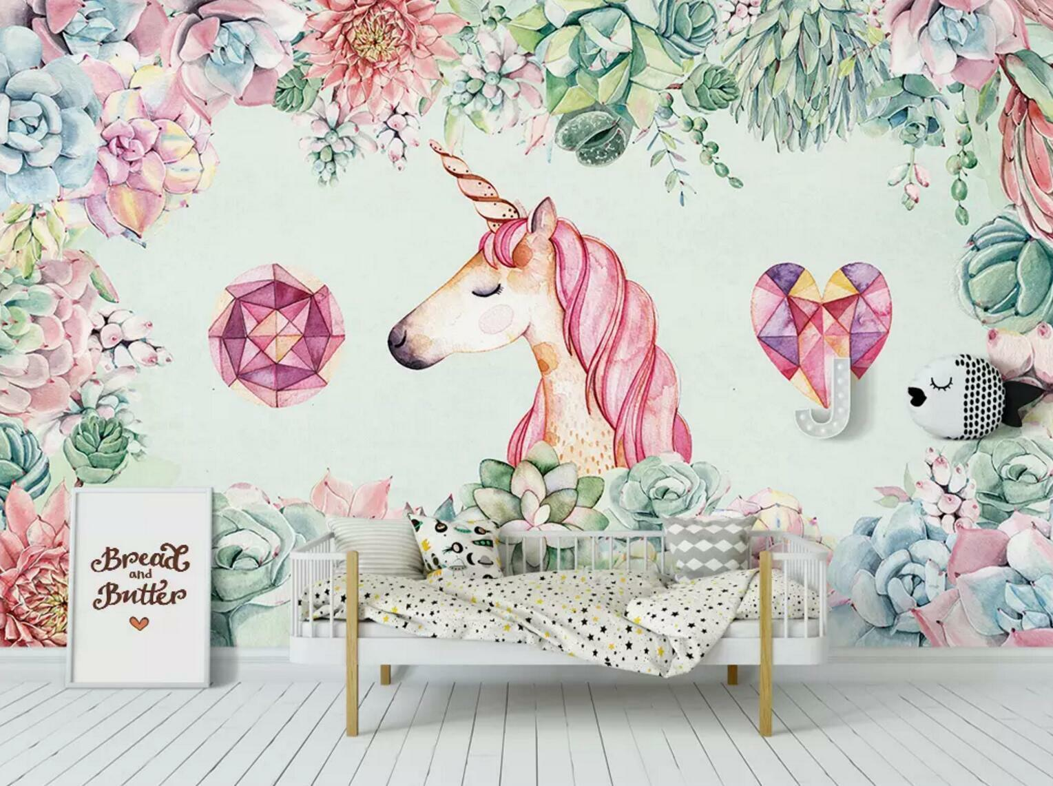 3D Unicorn Garden 67 Wall Paper Exclusive MXY Wallpaper Mural Decal Indoor wall
