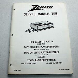 vintage zenith technical service manual tr5 tape cassette player rh ebay com Online User Guide Clip Art User Guide