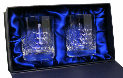 Pair Of Personalised 8oz Cut Crystal Whisky Glasses Engraved Wedding Anniversary