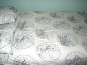 (4) pc GROVE & HOLLOW (FULL) Sheet Set (WORLD MAPS) flat,fitted,cases