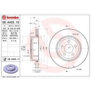 2 Stück Bremsscheibe Brembo 09.A405.11 COATED DISC LINE